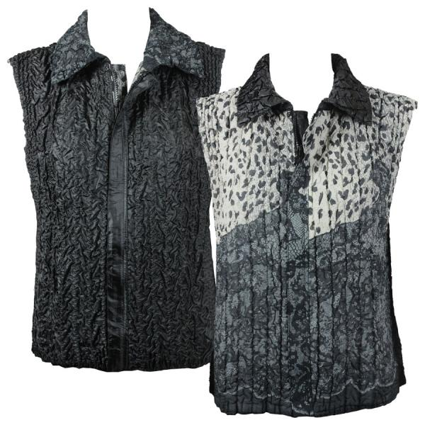 Quilted Reversible Vests Abstract Animal - Ivory-Grey - S-L