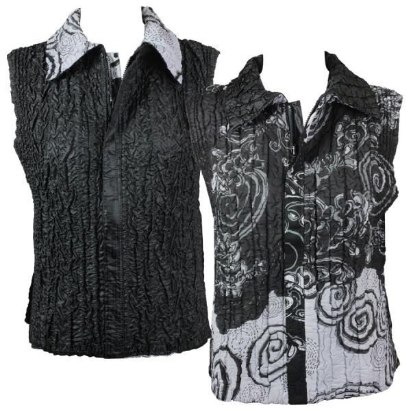 Quilted Reversible Vests Spiral Print - Black-White - S-L