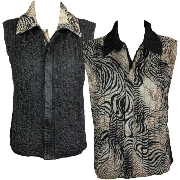 Quilted Reversible Vests Swirl Animal reverses to Solid Black - S-L