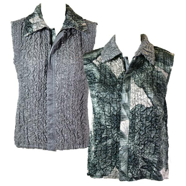 Quilted Reversible Vests Silver Abstract reverses to Solid Silver - S-L