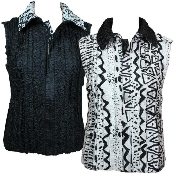 Quilted Reversible Vests Abstract Shape Designs - S-L