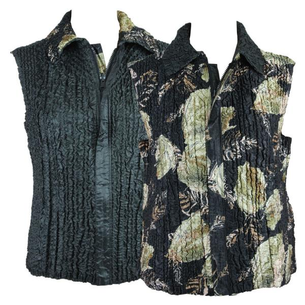 Quilted Reversible Vests Black with Gold Leaves reverses to Solid Black - S-L