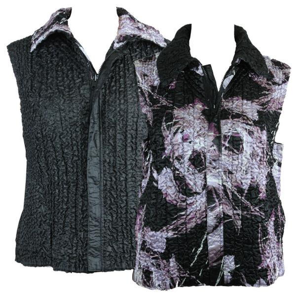 Quilted Reversible Vests Brushstrokes Black-Purple reverses to Solid Black - S-L