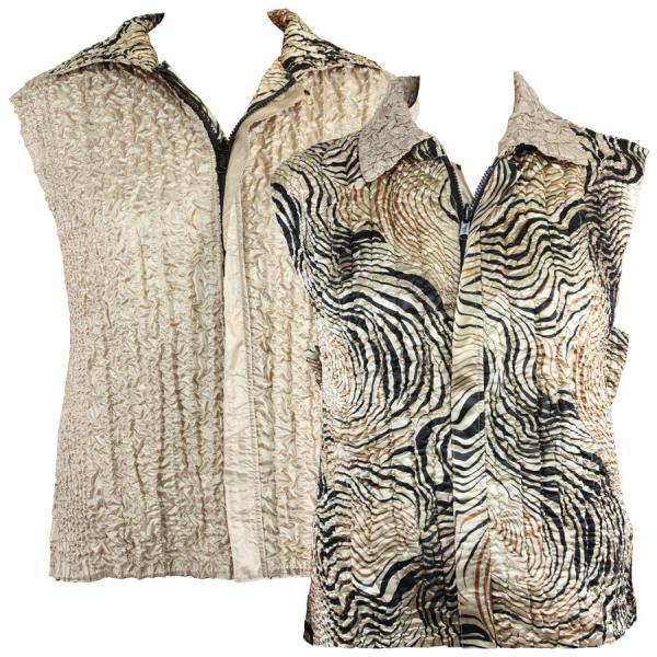 Quilted Reversible Vests Swirl Animal reverses to Solid Champagne - S-L