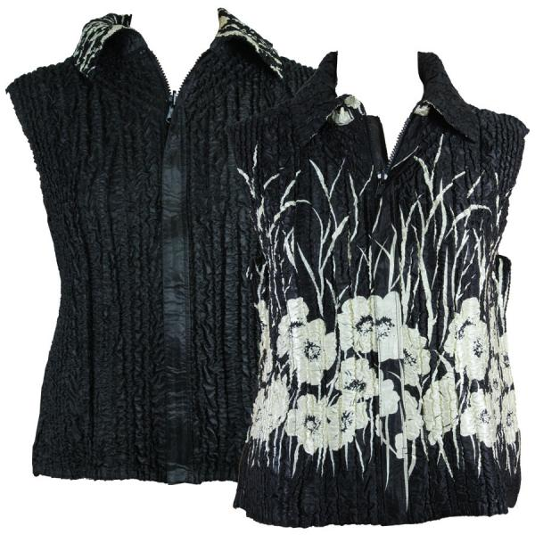 Quilted Reversible Vests Ivory Poppies on Black reverses to Solid Black - XL-2X