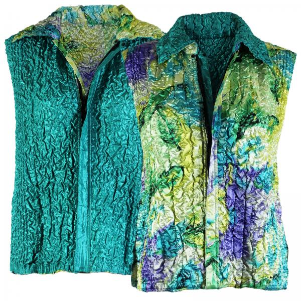 Quilted Reversible Vests Blue-Purple-Yellow Watercolors reverses to Solid Teal Green - XL-2X