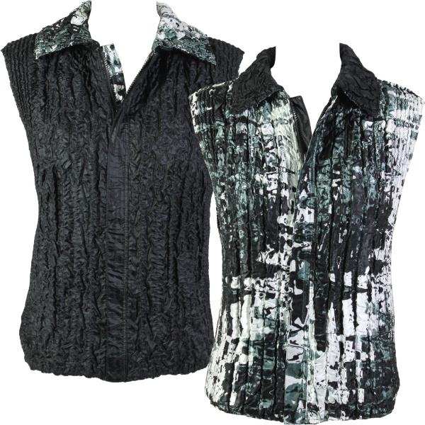 Quilted Reversible Vests #5254 Black and White Abstract - S-L