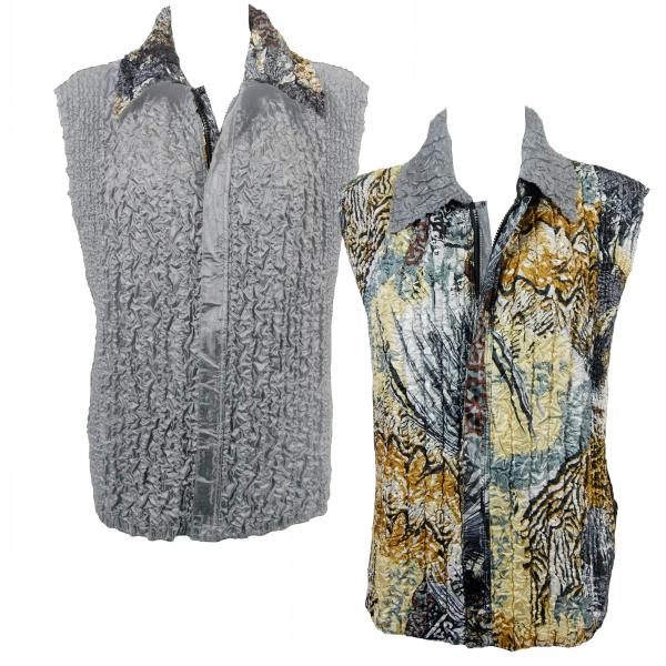 Quilted Reversible Vests Abstract Black-Gold reverses to Solid Silver -