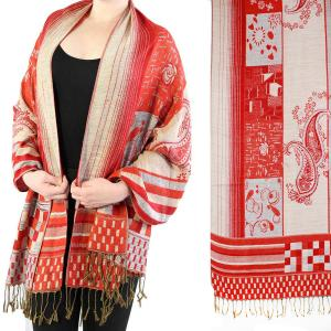 Pashmina Style Shawls - Woven Solids & Prints Medley Print - Red-Grey -
