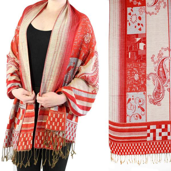Wholesale Pashmina Style Shawls - Woven Solids & Prints Medley Print - Red-Grey -