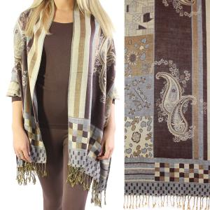 Pashmina Style Shawls - Woven Solids & Prints Medley Print - Brown-Grey -