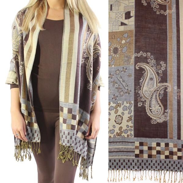 Wholesale Pashmina Style Shawls - Woven Solids & Prints Medley Print - Brown-Grey -