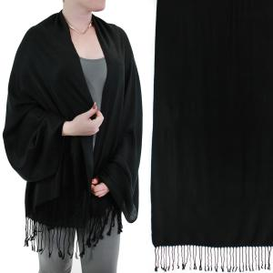 Pashmina Style Shawls - Woven Solids & Prints Solid Black -