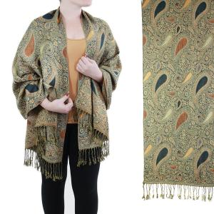Pashmina Style Shawls - Woven Solids & Prints Paisley #106 Olive -