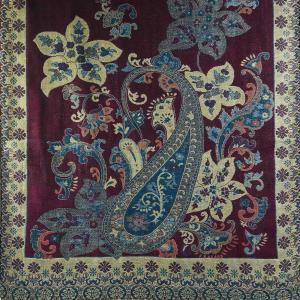Pashmina Style Shawls - Woven Solids & Prints Floral Paisley #256 Berry-Blue-Beige Metallic -