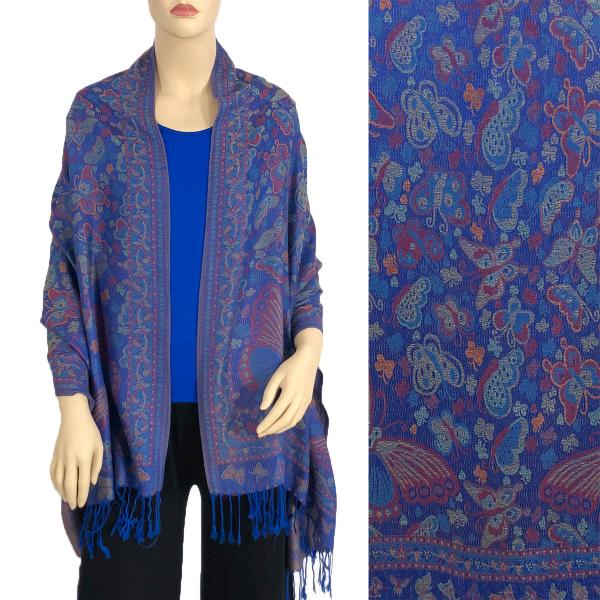Wholesale Pashmina Style Shawls - Woven Solids & Prints Butterflies - Royal (F20-12) -