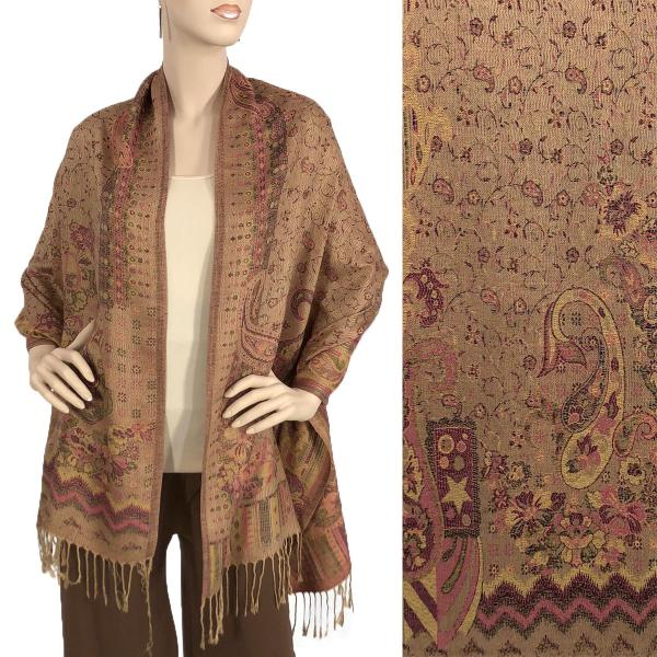 Wholesale Pashmina Style Shawls - Woven Solids & Prints Paisley w/ Border - Tan-Raspberry (F20-11) -