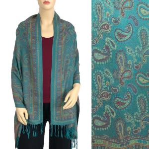 Pashmina Style Shawls - Woven Solids & Prints Small Paisley - Teal (F20-07) -