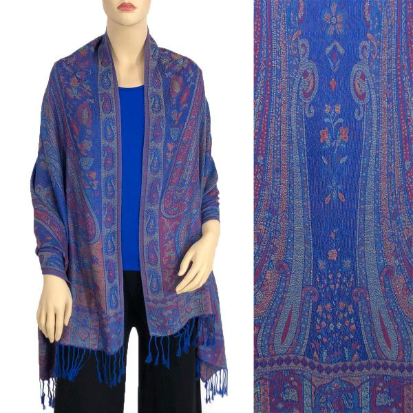 Wholesale Pashmina Style Shawls - Woven Solids & Prints Large Paisley - Royal (F20-23) -