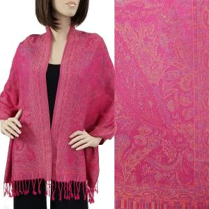 Pashmina Style Shawls - Woven Solids & Prints Paisley Floral - Magenta (F20-19) -