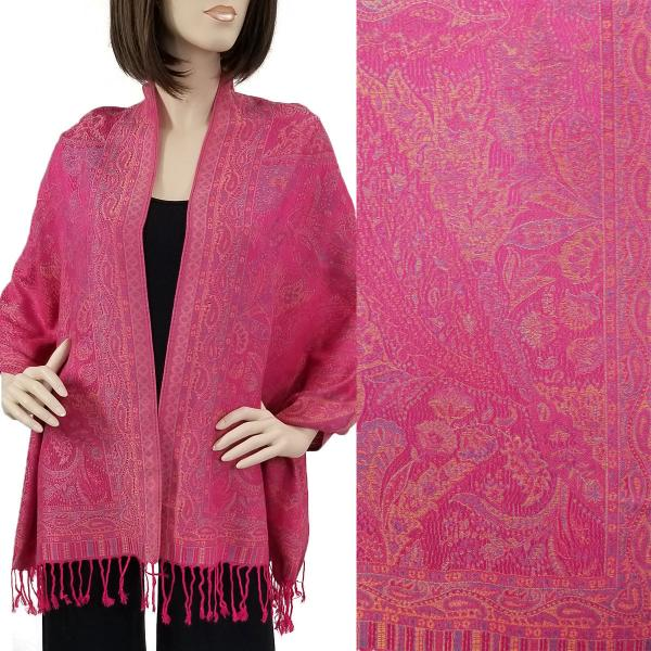 Wholesale Pashmina Style Shawls - Woven Solids & Prints Paisley Floral - Magenta (F20-19) -