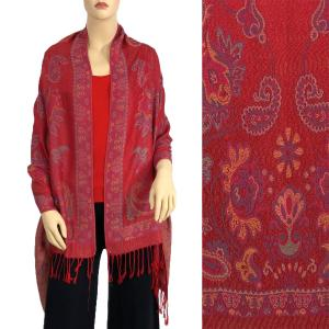 Pashmina Style Shawls - Woven Solids & Prints Paisley - Burgundy (F20-21) -