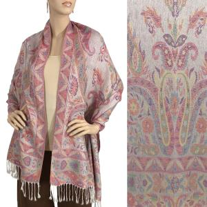 Pashmina Style Shawls - Woven Solids & Prints Mixed Paisley - Off-White (F20-18) -