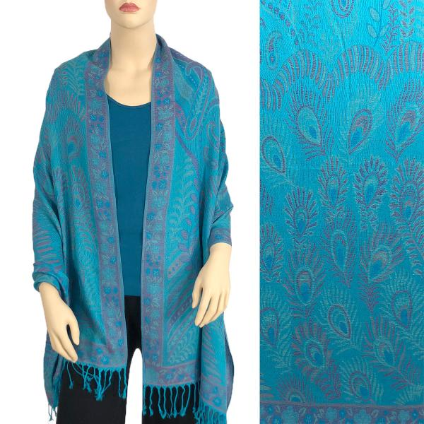 Wholesale Pashmina Style Shawls - Woven Solids & Prints Feathers - Turquoise (A535) -
