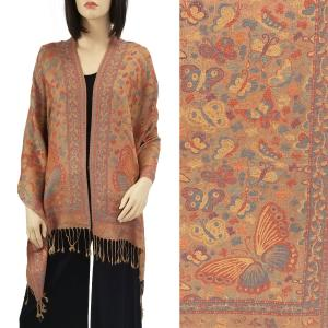 Pashmina Style Shawls - Woven Solids & Prints Butterflies - Camel (F20-12) -