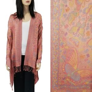 Pashmina Style Shawls - Woven Solids & Prints Butterflies - Salmon (F20-12) -