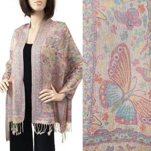 Pashmina Style Shawls - Woven Solids & Prints Butterflies - Cream (F20-12) -