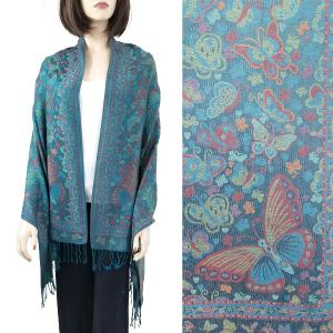 Pashmina Style Shawls - Woven Solids & Prints Butterflies - Dark Teal Green (F20-12) -