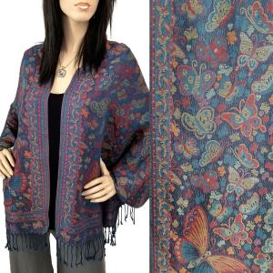 Pashmina Style Shawls - Woven Solids & Prints Butterflies - Navy (F20-12) -