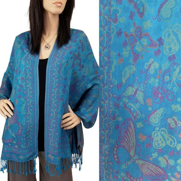 Wholesale Pashmina Style Shawls - Woven Solids & Prints Butterflies - Turquoise (F20-12) -