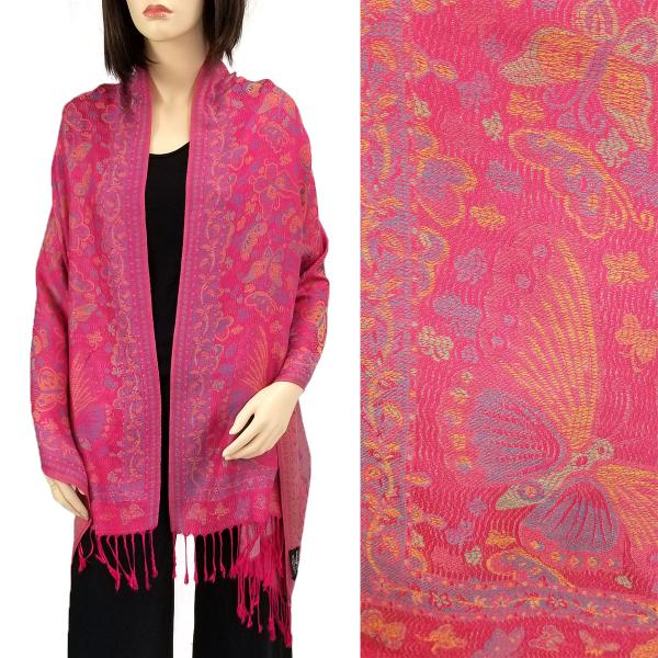 Wholesale Pashmina Style Shawls - Woven Solids & Prints Butterflies - Fuchsia (F20-12) -