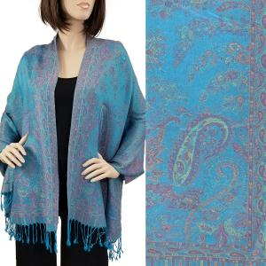 Pashmina Style Shawls - Woven Solids & Prints Paisley Floral - Turquoise (F20-19) -