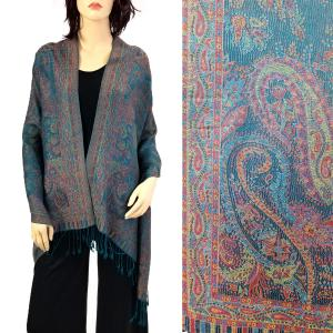 Pashmina Style Shawls - Woven Solids & Prints Paisley Floral - Dark Teal Green (F20-19) -