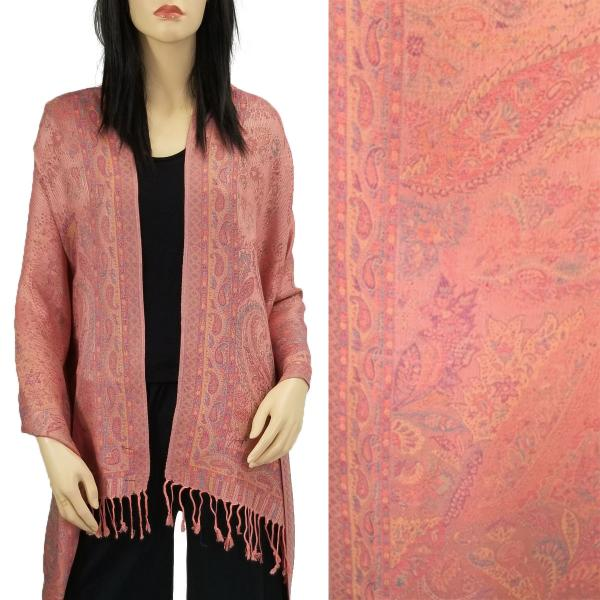 Wholesale Pashmina Style Shawls - Woven Solids & Prints Paisley Floral - Salmon (F20-19) -