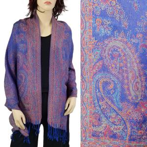 Pashmina Style Shawls - Woven Solids & Prints Paisley Floral - Royal (F20-19) -
