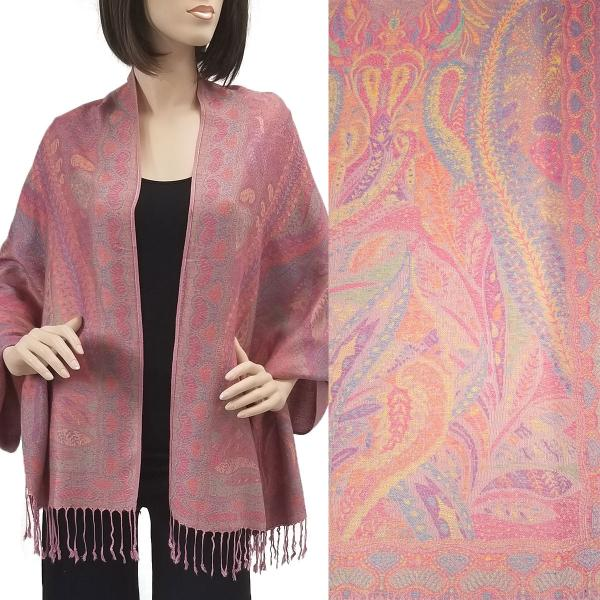 Wholesale Pashmina Style Shawls - Woven Solids & Prints Paisley - Pink (F20-17) -