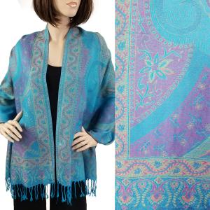 Pashmina Style Shawls - Woven Solids & Prints Big Paisley - Turquoise (FF1021) -