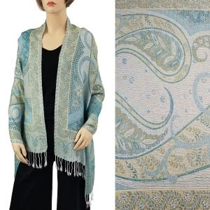 Pashmina Style Shawls - Woven Solids & Prints Big Paisley - Ivory (FF1021) -