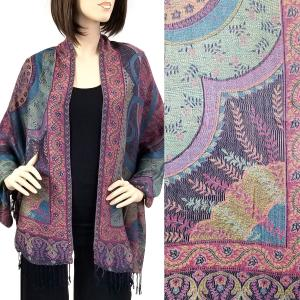 Pashmina Style Shawls - Woven Solids & Prints Big Paisley - Navy (FF1021) -