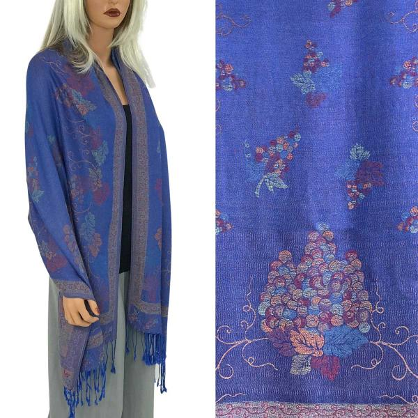 Wholesale Pashmina Style Shawls - Woven Solids & Prints GRAPES #17 Royal Purple Pashmina Style Shawl  -
