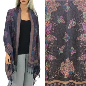 Pashmina Style Shawls - Woven Solids & Prints GRAPES #14 Dark Purple Pashmina Style Shawl  -