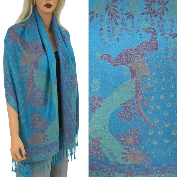 Wholesale Pashmina Style Shawls - Woven Solids & Prints PEACOCK #11 Turquoise Pashmina Style Shawl  -