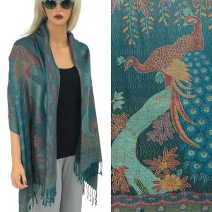 Wholesale  PEACOCK #15 Teal Pashmina Style Shawl  -