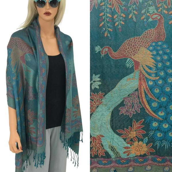 Pashmina Style Shawls - Woven Solids & Prints PEACOCK #15 Teal Pashmina Style Shawl  -