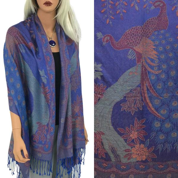 Wholesale Pashmina Style Shawls - Woven Solids & Prints PEACOCK #17 Royal Purple Pashmina Style Shawl  -