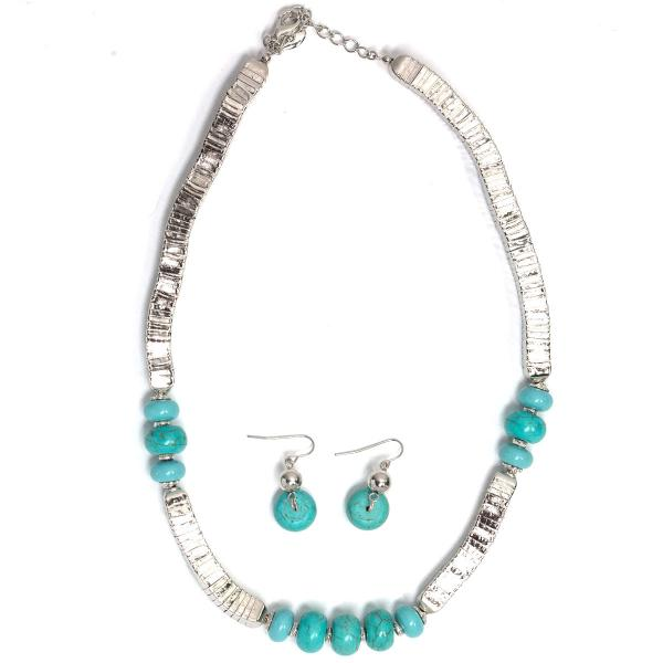 Fashion Necklace & Earring Sets Silver with Turquoise Stones -